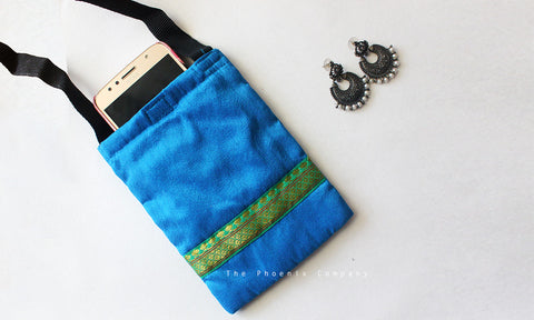 Blue & Green Zari Cell Phone Pouch