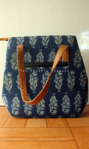 Blue & White Ajrakh Handbag