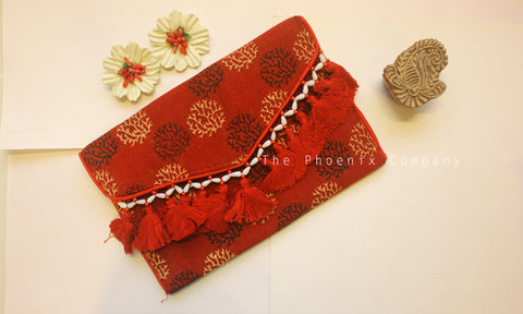 Maroon Motifs Ajrakh Sling Purse with Tassles
