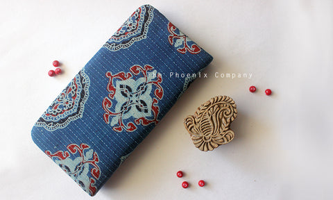 Blue Ajrakh Clutch Purse with Big Motif