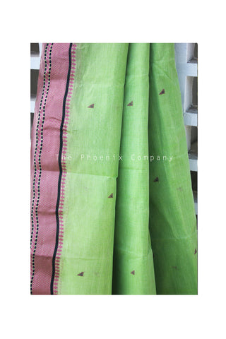 Green with Pink Cotton Saree
