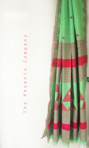 Pastel Green & Pink Handloom Pineapple Fibre & Cotton Jamdani Saree
