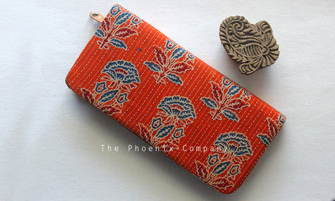 Orange Ajrakh Clutch Purse with florals