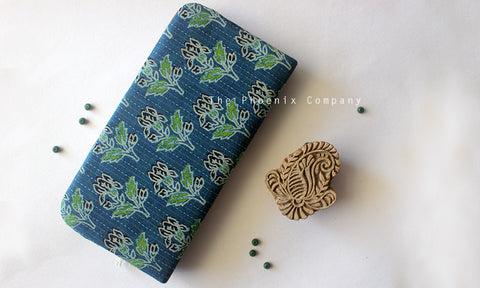 Blue Ajrakh Clutch with Plant Motif