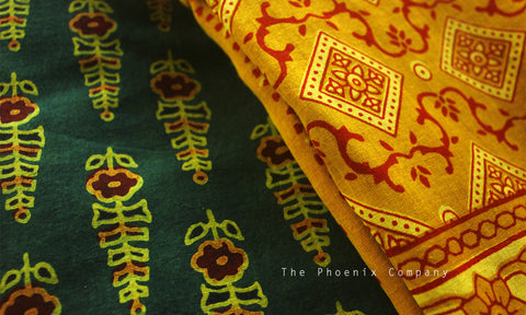 Ajrakh Green & Ochre Cotton Salwar Kameez Material with Leaf Motif