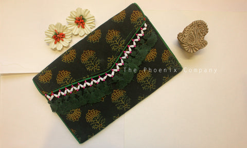 Dark Green Ajrakh Sling Purse with Tassles