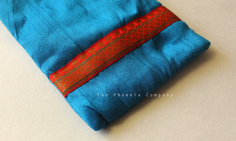 Blue & Red Zari Cell Phone Pouch
