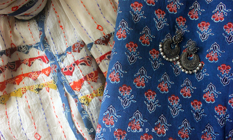 Ajrakh Blue Floral Kurta Material & White Hand-embroidered Dupatta