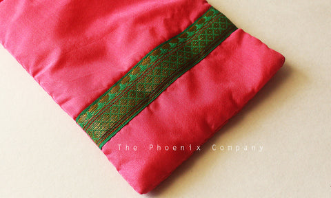 Pink & Green Zari Mobile Phone Pouch