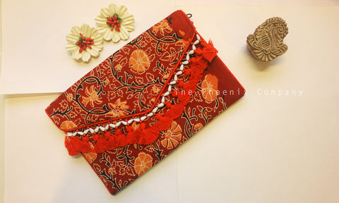 Maroon Floral Ajrakh Sling Purse with Tassles