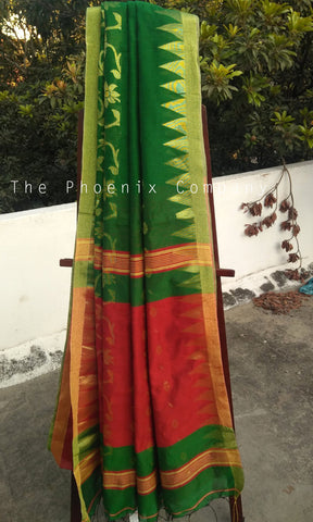 Dark Green & Red Pineapple Fibre Saree
