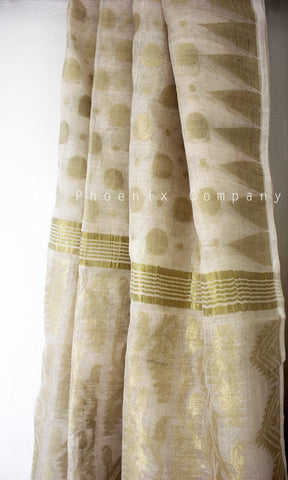 White and Gold Ahimsa Silk and Tissue Saree