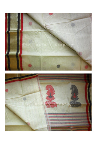 Black & Red Off-white Cotton Saree