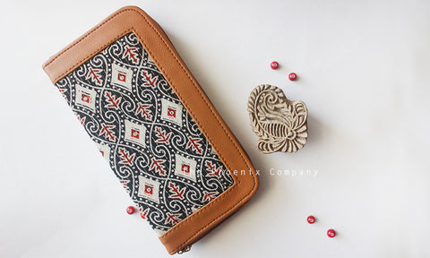 Black Ajrakh Clutch With Diamond Pattern