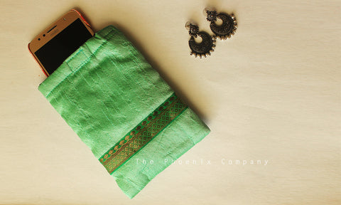 Pastel Green with Zari Mobile Phone Pouch