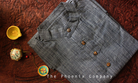 Denim Blue-grey Cotton Short Kurta