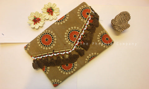 Brown Ajrakh Sling Purse with Tassles