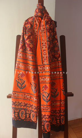 Ajrakh Orange and Maroon Floral Stole