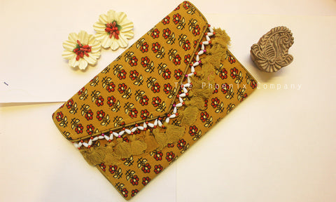 Ochre Ajrakh Sling Purse with Tassles