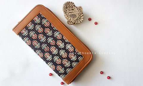Black Ajrakh Clutch with White Flowers
