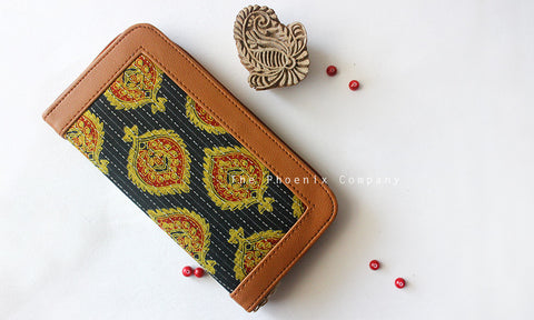 Dark Green & Mustard Ajrakh Clutch