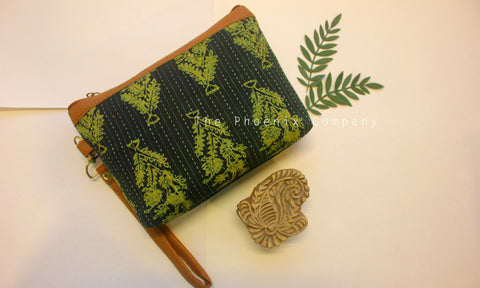 Dark Green Ajrakh Multipurpose Pouch