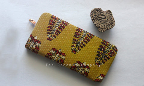 Ochre Ajrakh Clutch Purse with Leaf Motif