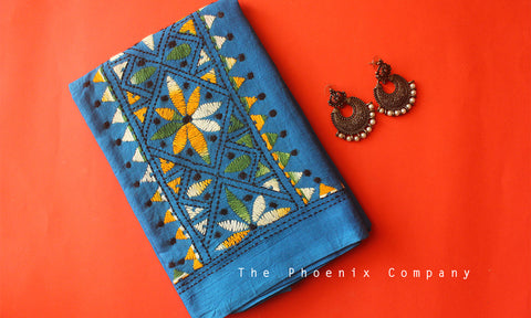 Blue Floral Kantha Work Blouse Piece