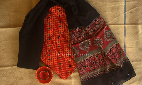 Ajrakh Deep Red Checked Kurta Material & Black Dupatta