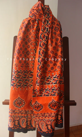 Ajrakh Orange Stole with Diamond Motif