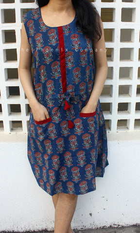 Blue Floral Ajrakh Dress
