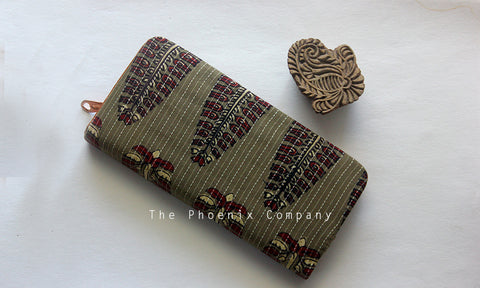 Grey Ajrakh Clutch Purse with Leaf Motif