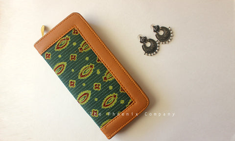 Dark Green Ajrakh Clutch Purse With Small Floral Motifs