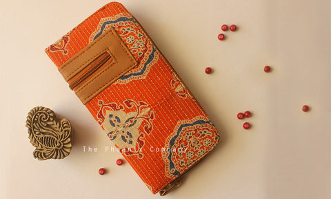 Orange Ajrakh Clutch with Designer Zip