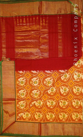 Orange and Red Handloom Ahimsa Silk Saree