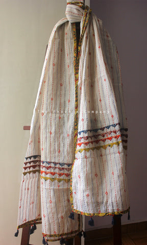 White Cotton Dupatta with Ochre Border