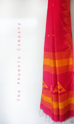 Pink & Mustard Handloom Pineapple Fibre & Cotton Jamdani Saree