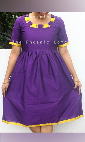 Dark Purple With Yellow Zari