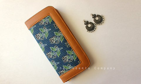 Blue Ajrakh Clutch Purse With Plant Motifs