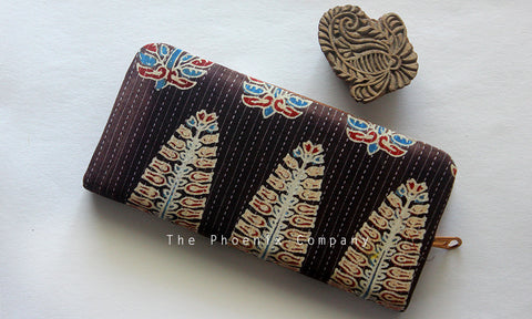 Dark Brown Ajrakh Clutch Purse with Leaf Motif