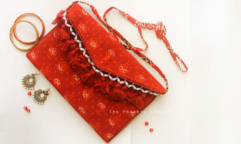 Red Floral Ajrakh Sling Bag with Tassles