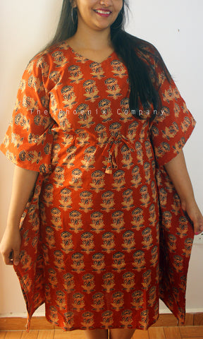 Dark Orange Floral Cotton Long Kaftan