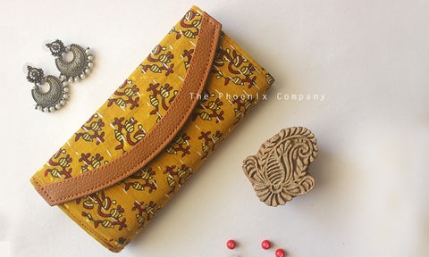 Mustard & Red Floral Ajrakh Purse