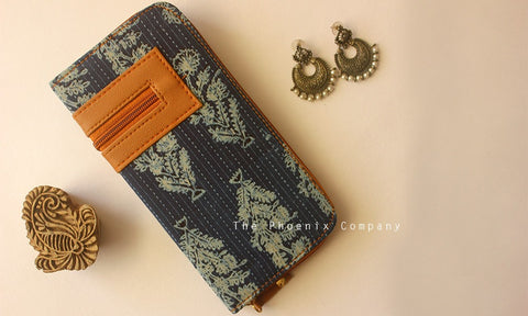Blue Motifs Ajrakh Clutch Purse with Designer Zip