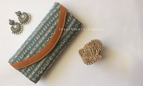 Blue Patterned Ajrakh Purse