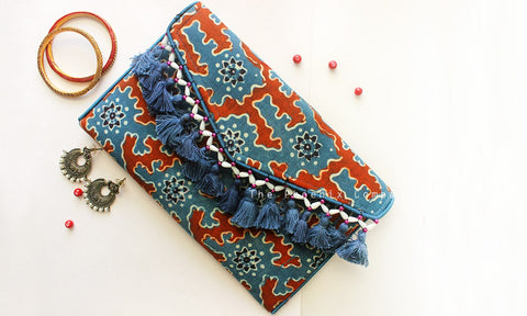 Blue & Red Ajrakh Sling Bag with Tassles