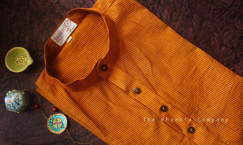 Mustard Striped Cotton Short Kurta