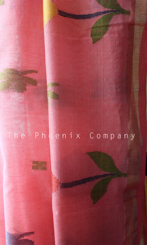 Light Pink & Lemon Yellow Handloom Ahimsa Silk & Cotton Saree