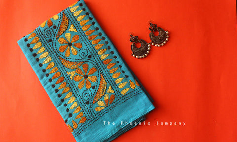 Blue Floral Wave Kantha Work Blouse Piece
