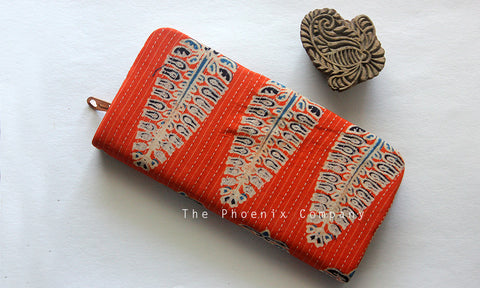 Orange Ajrakh Clutch Purse with Leaf Motif